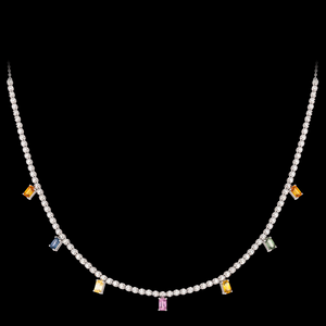 Tennis Necklace with Rainbow Sapphires