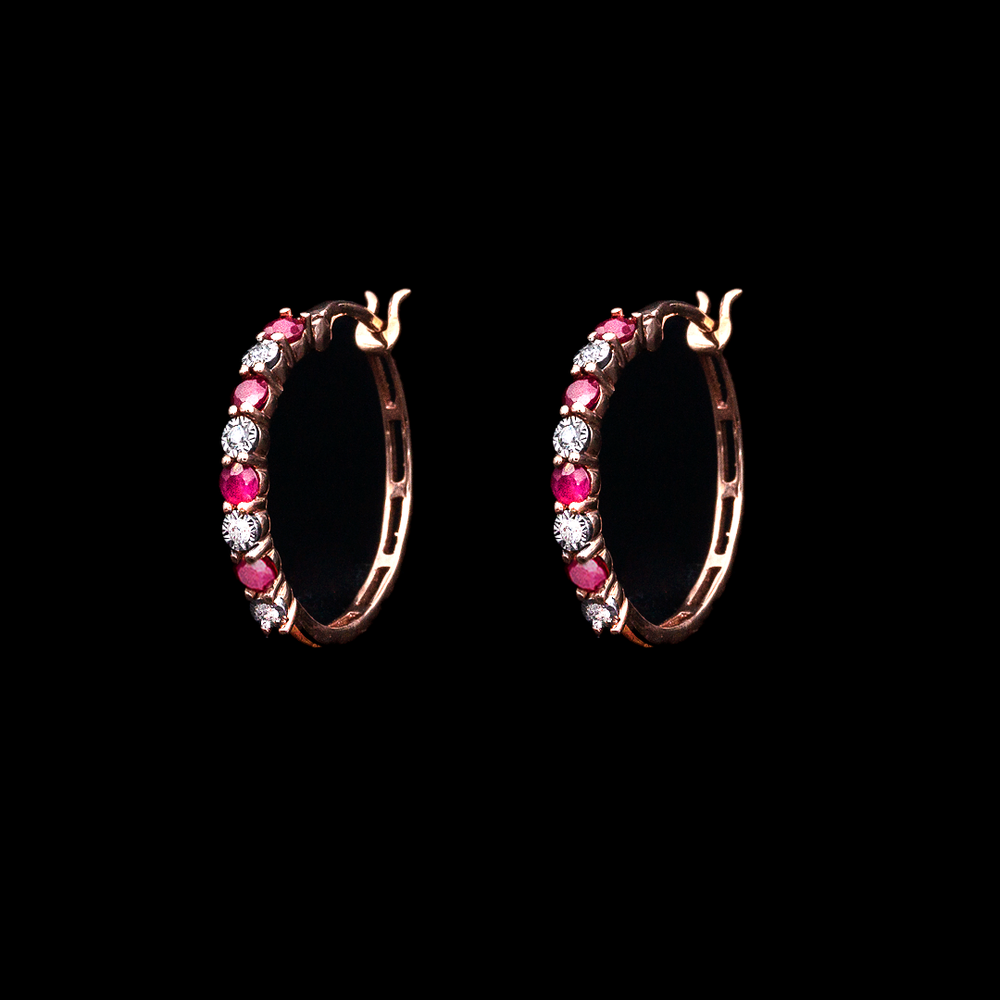 Load image into Gallery viewer, Ruby & Diamond Hoops
