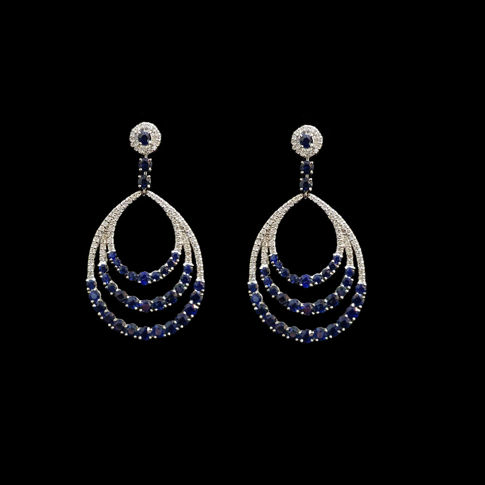 Blue Sapphire Circled Earrings