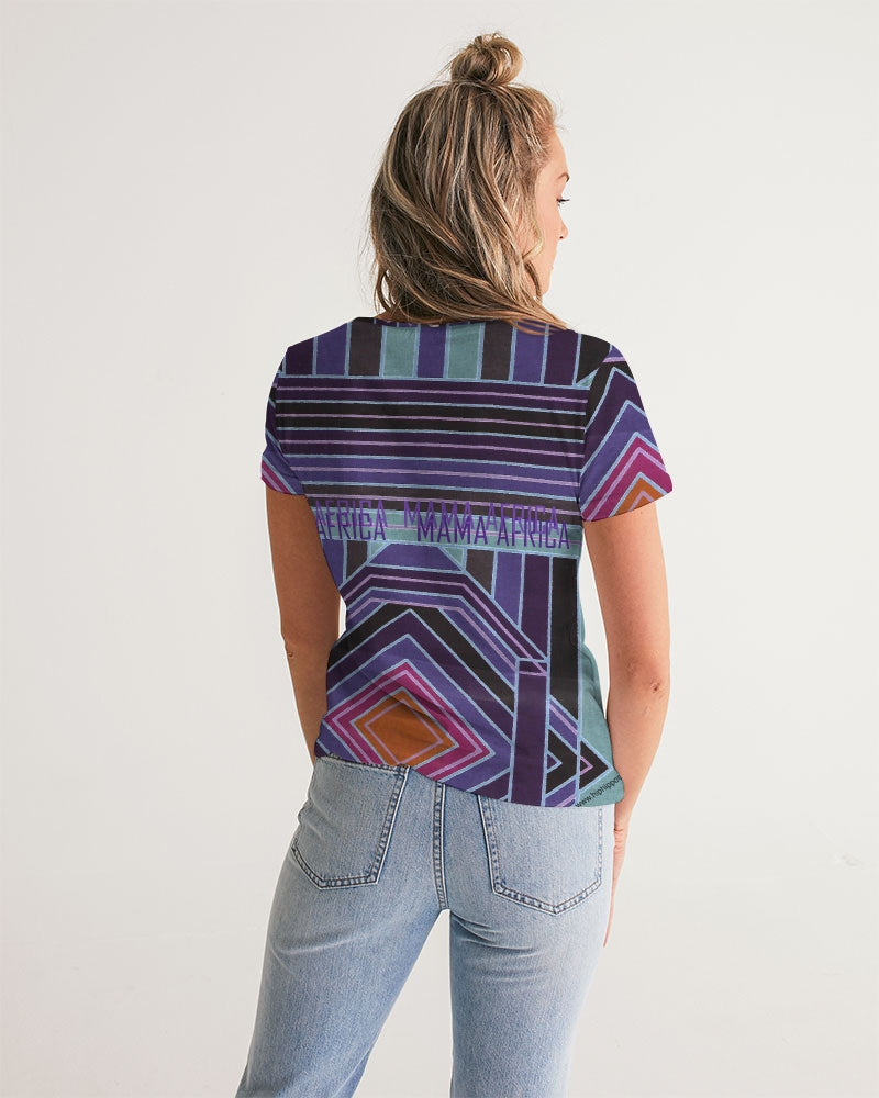 African wax design short-sleeved v-neck top