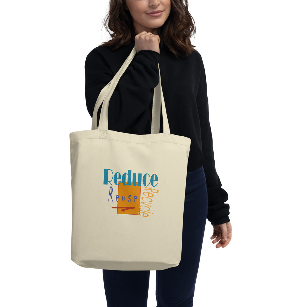 organic black  tote bag with recycling design natural
