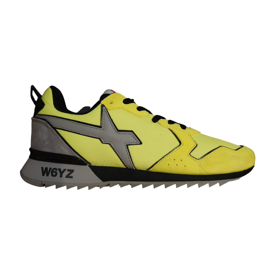 Sneakers in velour nylon  giallo fluo