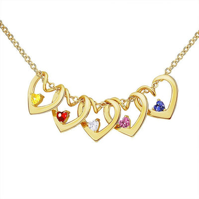Christmas gift heart-shaped pendant and custom birthstone necklace