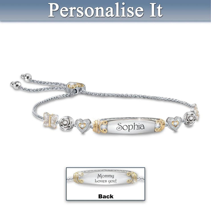 Christmas Gift Daughter Bolo Bracelet With Two Personalised Engravings