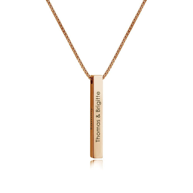 Christmas GIft Personalized Engraved 3D Bar Necklace
