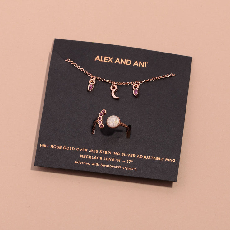 Moon Charm Necklace + Crystal Ring Gift Set