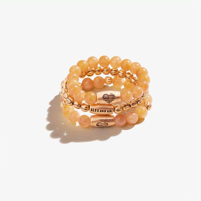 Yellow Jasper Gemstone Stretch Rings, Set of 3