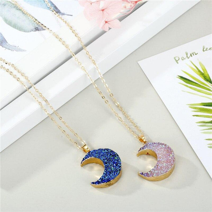Crescent Moon Crystal Resin Necklace