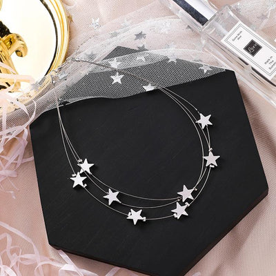 Megna Silver Star Necklace