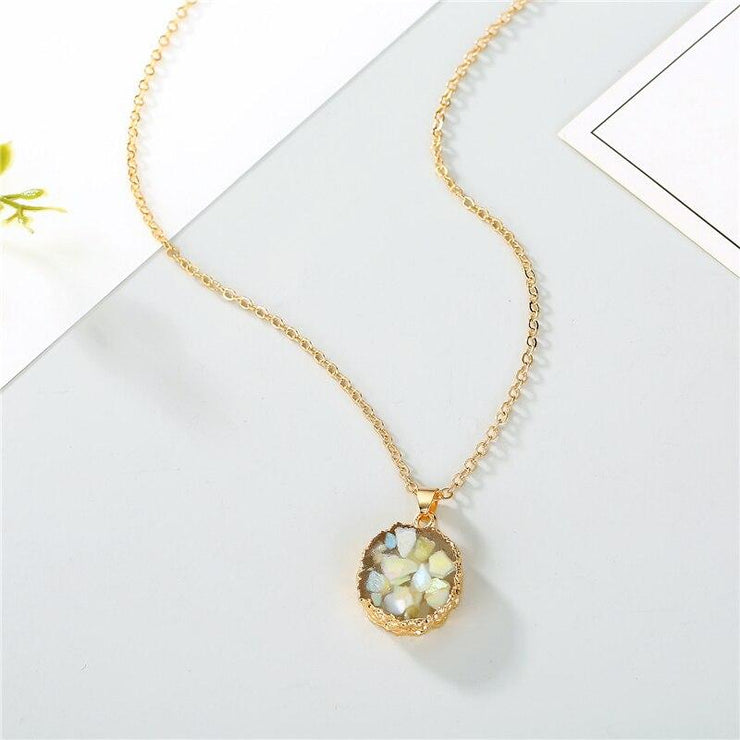 Resin Moonstone Pendant Necklace