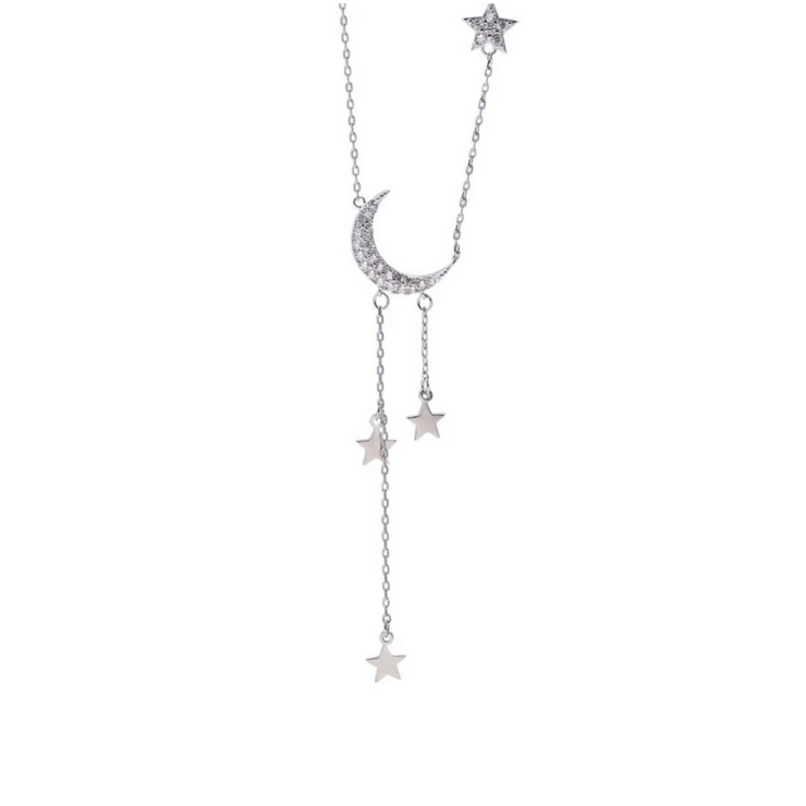 Moon & Star Sterling Silver Necklace