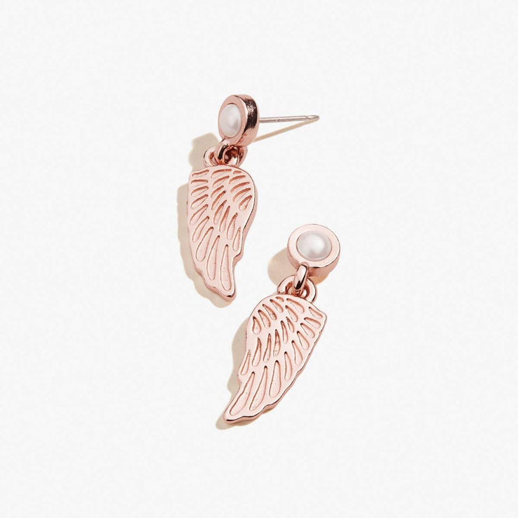 Pearl Angel Wing Stud Earrings