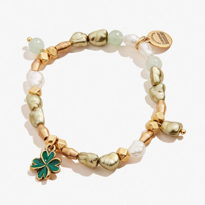 Four Leaf Clover Beaded Stretch Charm Bracelet
