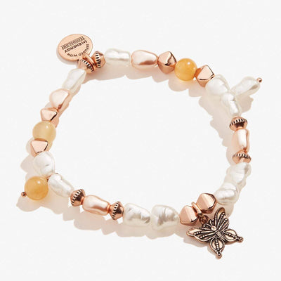 Butterfly Charm Beaded Stretch Bracelet
