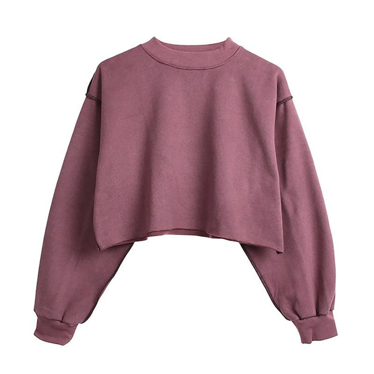 Hoodie sweatshirt casual short hoodies for girls long sleeve streetwear crop sweatshirt plus size M30375