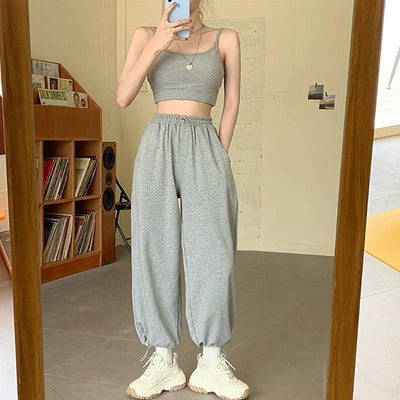 Sweat Pants Korean Style Loose Jogging Sweatpants Women 's Grey High Waist Joggers Pants 2020 New Harun Trousers Casual Fashion