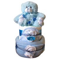 2 tier deluxe nappy cake blue, boys nappy cake, boys baby shower, nappy cakes ireland, baby gifts ireland, nappycakesie, baby boy present