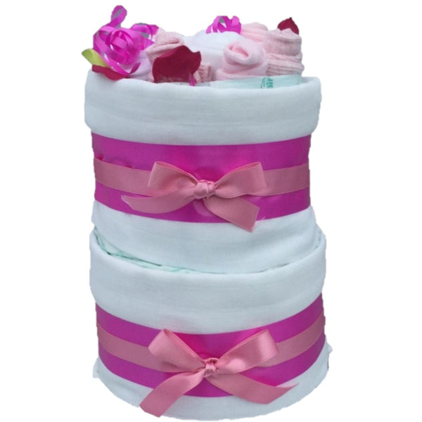 Beautiful Blossom Nappy Cake - 2 Tier Pink