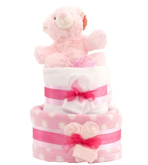 Simple Nappy Cake - Pink 2 Tier
