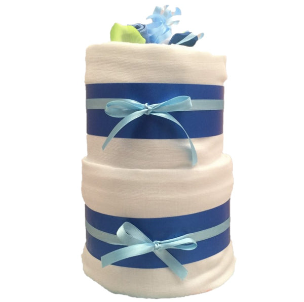 boys nappy cake, blooms nappy cake, 2 tier blue nappy cake, baby boy nappy cake, baby boy gifts, baby gifts ireland, boys baby gifts, boys nappy cakes, blue nappy cakes