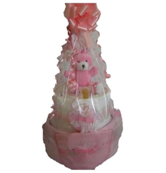 2 tier deluxe nappy cake, pink nappy cake, baby girls nappy cake, baby girl gift, newborn gift, nappycakesie