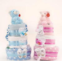 Standard Nappy Cake - 3 Tier Pink