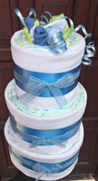 Blue Beautiful Blooms Nappy Cake - 4 Tier