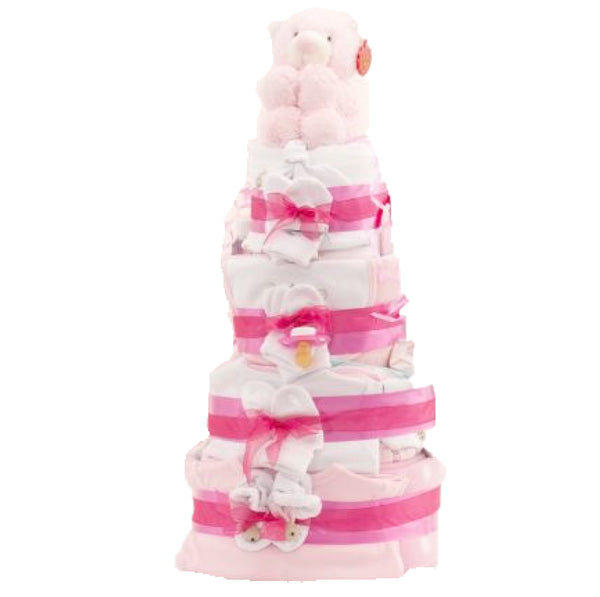 4 tier deluxe nappy cake, deluxe girls nappy cake, pink nappy cake, baby girl gift, baby shower,
