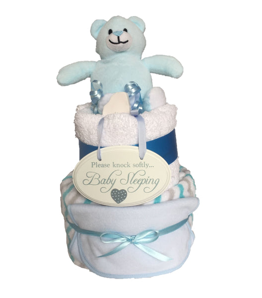 Baby Sleeping Nappy Cake - Blue