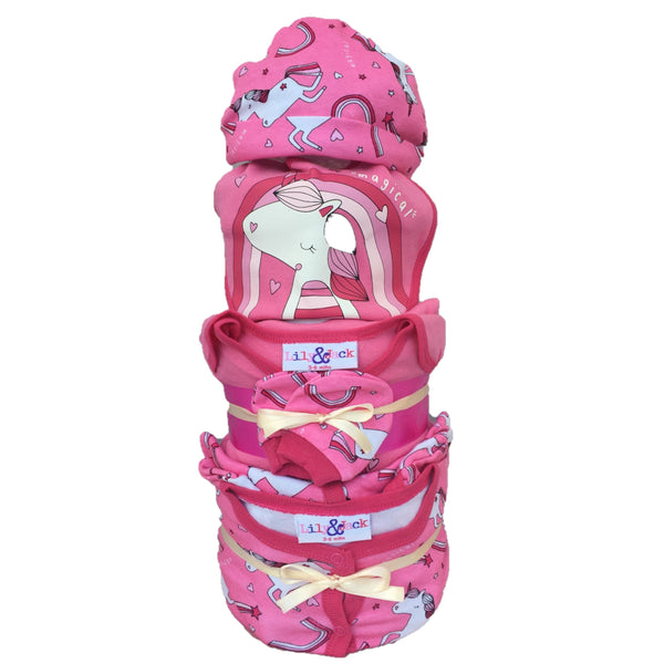 Pink unicorn nappy cake