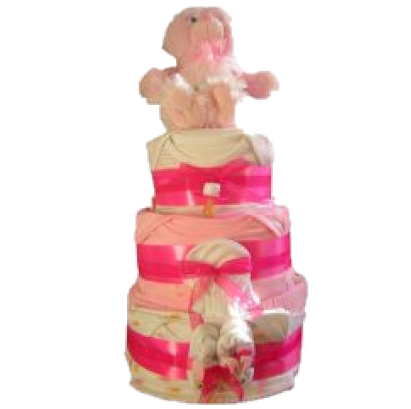 deluxe pink nappy cake, girls nappy cake, baby shower gift, nappy cake gift, baby girl gift, newborn baby girl, nappycakesie