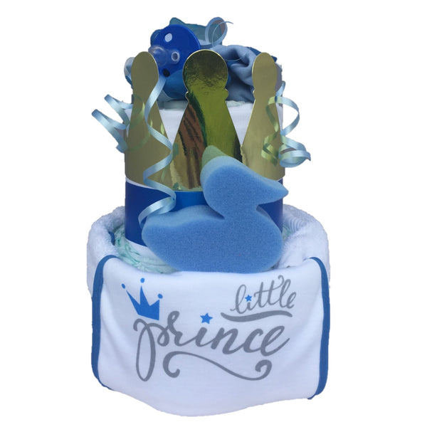 little prince nappy cake, boys nappy cake, blooms nappy cake, 2 tier blue nappy cake, baby boy nappy cake, baby boy gifts, baby gifts ireland, boys baby gifts, boys nappy cakes, blue nappy cakes