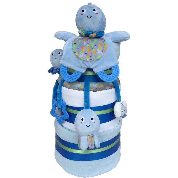 octopus nappy cake, new baby boy gift, baby boy nappy cake, blue nappy cake, octopus baby gift,