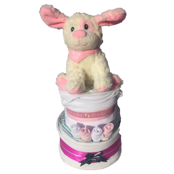pink puppy nappy cake, new baby girl gift, new baby nappy cake, pink nappy cake, baby gifts ireland, baby gifts girl, nappy cakes ireland, nappy cake gifts
