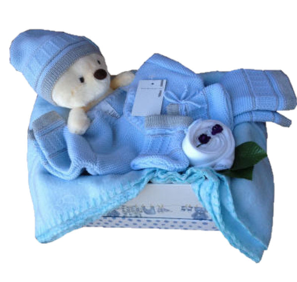 blue teddy hamper, baby boys hamper, baby hamper blue, new baby boy, baby gifts, blue baby gifts, nappycakesie