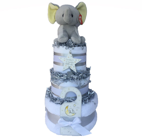 unisex nappy cake, jungle animal nappy cake, elephant nappy cake, twinkle twinkle little star nappy cake, nappy cake ireland, nappy cake baby gift, nappycakesie