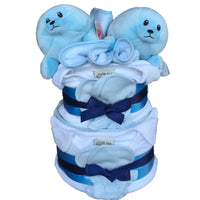 Twin boys nappy cake, twins baby gift, twins nappy cake, blue nappy cake, blue boys nappy cake, twin boy gifts ireland, baby gifts ireland