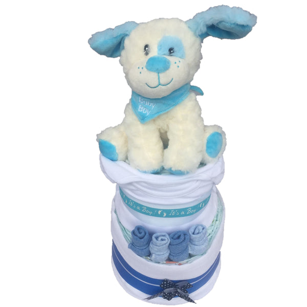 little puppy nappy cake, baby boy nappy cake, gifts for new baby Ireland, blue puppy nappy cake, baby boy