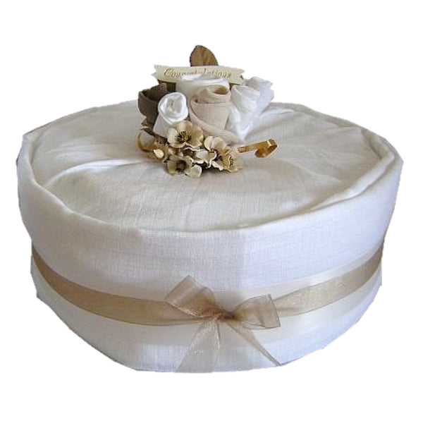 unisex nappy cake, 1 tier natural nappy cake, cream nappy cake, baby gifts, baby showers, baby present, baby gifts, irish baby