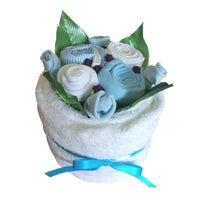 towel cake blue, baby towel cake gifts, baby boy gifts, new baby gifts, baby showers, nappycakesie