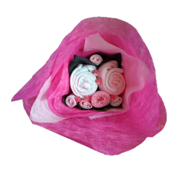 baby girls clothes bouquet, pink baby bouquet, baby blossoms, baby girl, new baby, nappycakesie, baby gifts ireland, nappy cakes