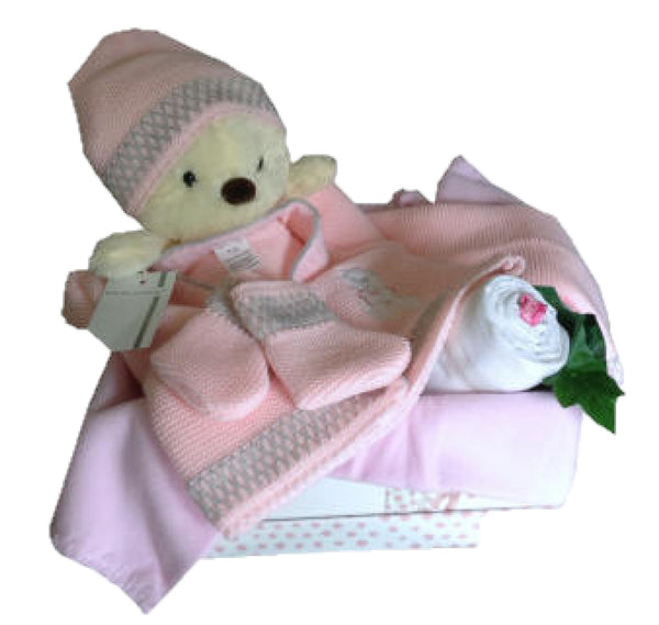 baby girls hamper, pink teddy hamper, new baby hamper, baby girl gifts, new baby gifts, baby gifts ireland, nappycakesie
