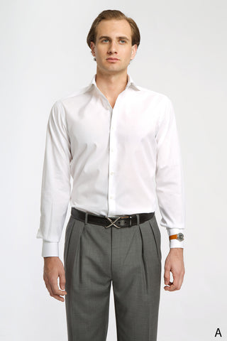White Spread Collar Dress Shirt - Athletic Fit