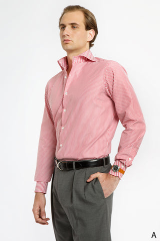 Red and White Striped Spread Collar Dress Shirt - Athletic Fit