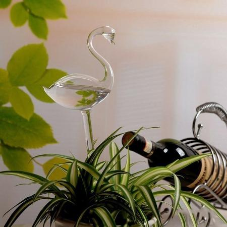 Glass Swan Watering Globe - Greenspace