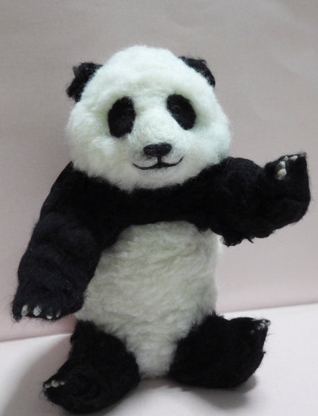 Needle felted Bear Panda, Fiber Art, Home Decor, Felted Animal, Needle Felting, Soft Sculpture Teddy Bear