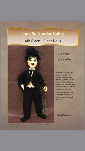 Charlie Chaplin, wool sculpture , soft sculpture , needle felted doll