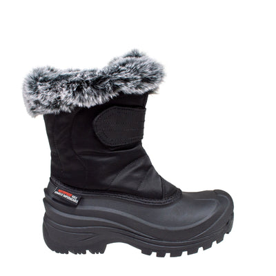 black insulated women's winter boots with fur collar