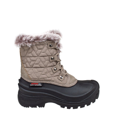 taupe insulated women's winter boots with faux fur collar