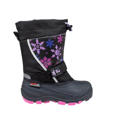 black lenticular fun light up warm kids winter boots